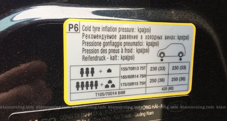 Bơm lốp xe Kia Morning bao nhiêu kg là đủ và an toàn