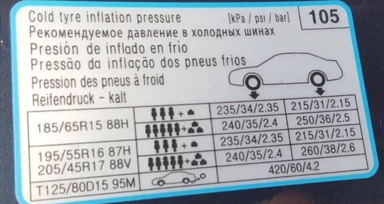 Bơm lốp xe KIA cerato bao nhiêu kg